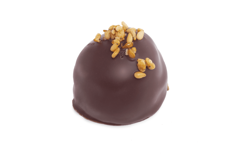 LAYERED MARZIPAN Pure marzipan layered with dark chocolate topped with caramelized sesame seeds. Vegan. Gluten-free
